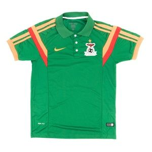 Nike Dri-Fit Polo Shirt Soccer Zambia Embroired L